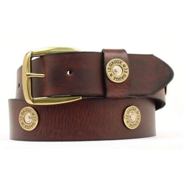 Brown Leather Shotgun Shell Accent Nocona Mens Belts