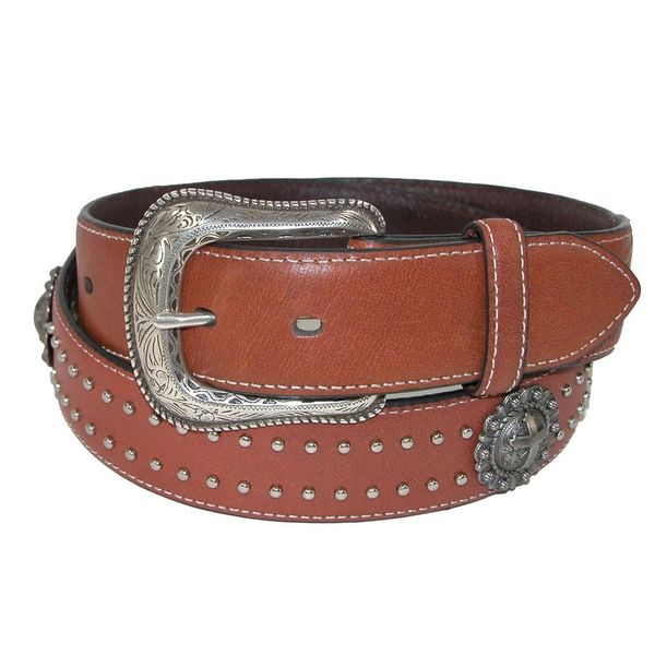Roper Men's Leather 38mm Belt with Cross Conchos