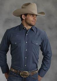 Men's Long Sleeve Solid Blue Roper