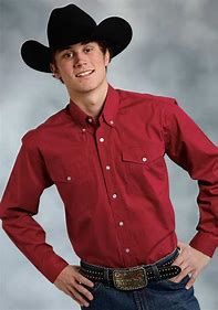 Roper Men's Long Sleeve Solid Red Shirt