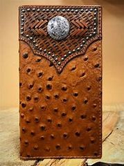 Mens Rodeo Wallet/ Checkbook Cover Ostrich With Round Conch