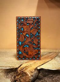 Brown and Turquoise Rodeo Wallet/Checkbook