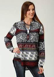 Roper Womens Long Sleeve Paisley Blouse