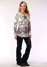 Roper Womens Floral Knit Tunic