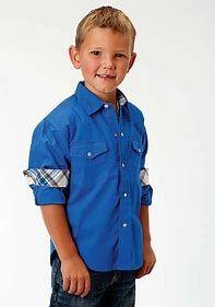 Boys Roper Long Sleeve Solid Blue