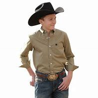 Boys Cinch Long Sleeve Khaki Shirt
