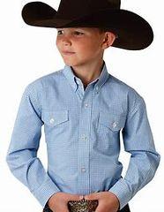 Roper Boys Blue Plaid Long Sleeve