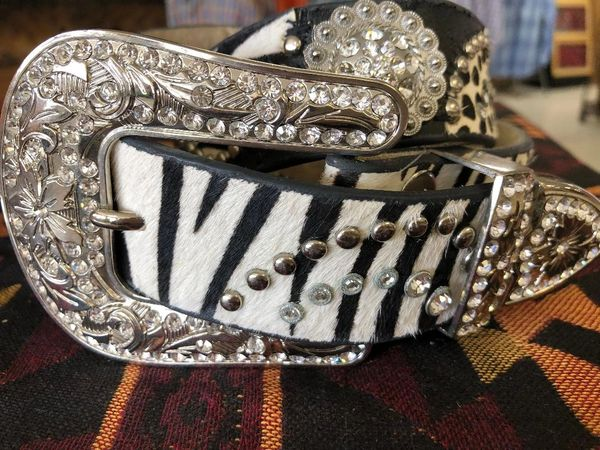 Womens Nocona Zebra Print Belt