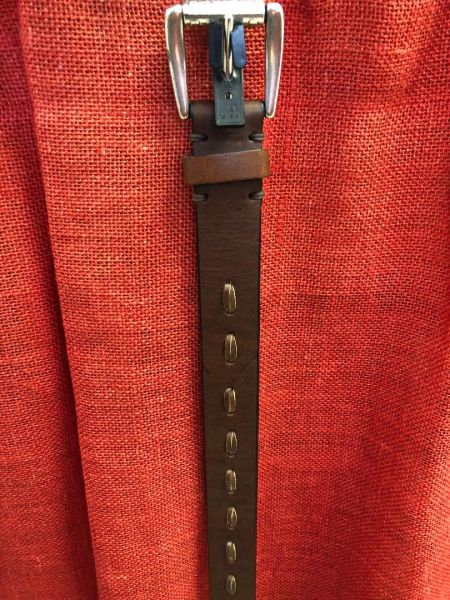 Womens Leather Belt With Leather Stitching