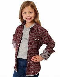 Girls Roper Long Sleeve Diamond Print