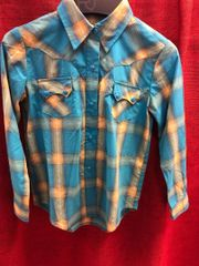 Girls Roper Blue and Yellow Plaid