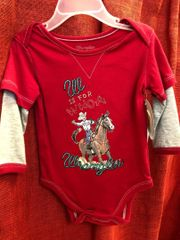 Wrangler Red and Gray Onesie