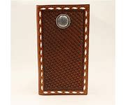 Nocona Mens Rodeo Wallet/Checkbook Cove With BasketWeave and a Conch