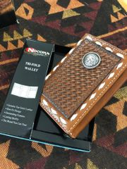 Mens Nocona Tri Fold Wallet With a Conch and Leather Lacing