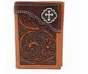 Nocona Mens Tri Fold Wallet With Cross Conch