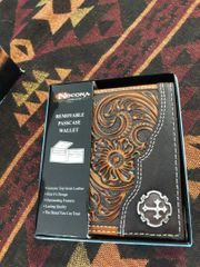 Mens Nocona Removable Passcase Wallet With Cross Conch