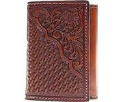 Nocona Mens Pro Series Tri Fold Wallet With Basket Weave and Floral Embossed