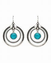 Round Earrings With Round Turquoise and Fleur de Lis
