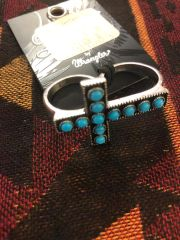 Double Shank Turquoise Cross Ring