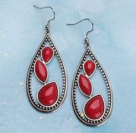 Red Multi Stone Teardrop Earrings