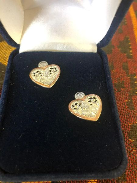Filigree Flower Heart Earrings
