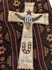 Wooden Western Themed Cross