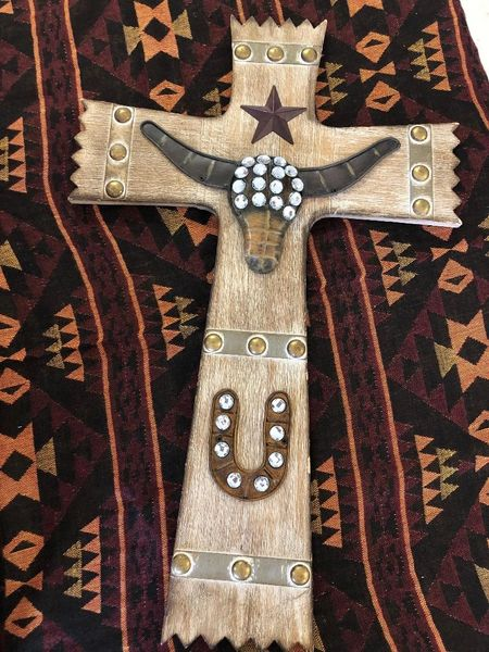 Wooden Western Themed Cross