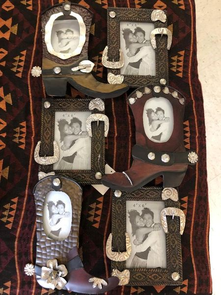 Metal Western Boot Picture Frame