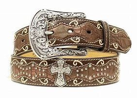 Girls Ariat Brown Inlay With Cross Belt