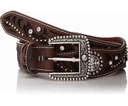 Ladies Ariat Scalloped Edge Belt With Round Conch