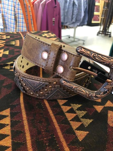 Ladies Angel Ranch Tan and Copper Belt