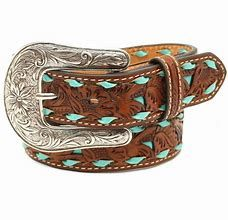 Nocona Girls Belt With Turquoise Lacing