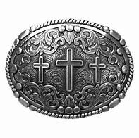 Silver Oval Buckle With 3 Crosses