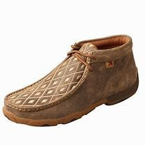Womens Driving Mocs With Tan Diamond Pattern On Foot