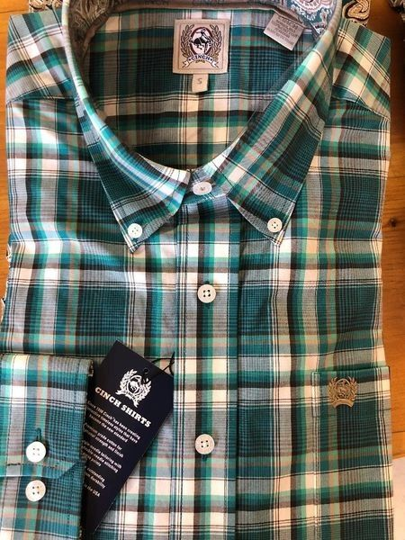 Mens Cinch Long Sleeve Green/Gray Shirt