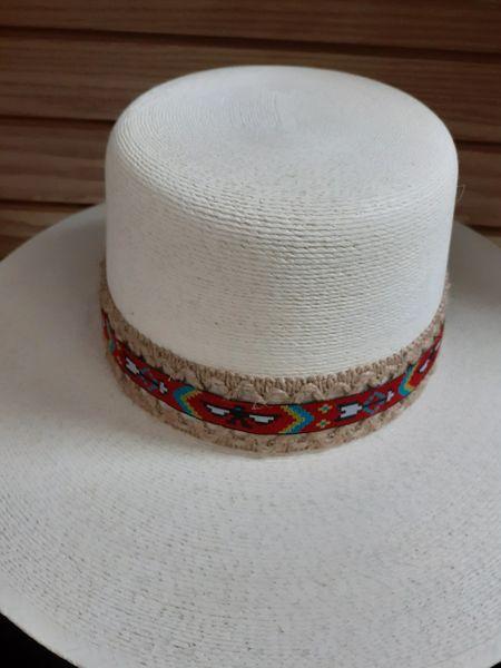 Tan Round Brim Tribal Hat