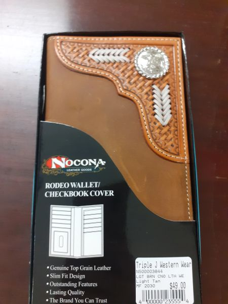 Brown Cowhide Leather Stitch Inlay Wallet