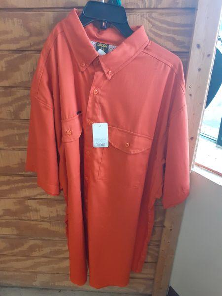 Mens Short Sleeve Orange Fishing Shirt
