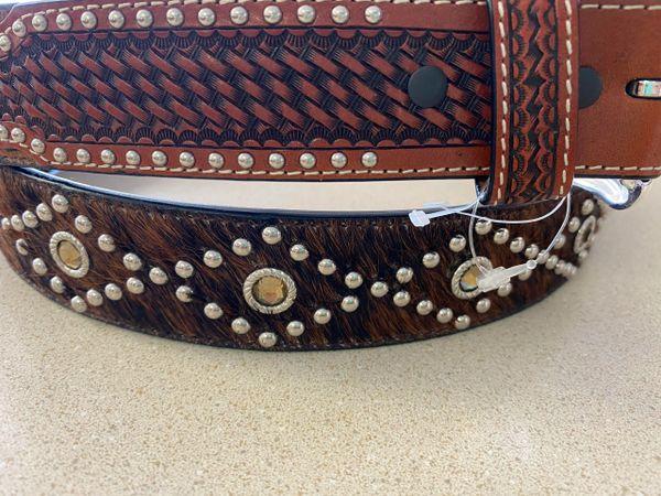 Men's Dark Tan Jeweled Cow hair Belt