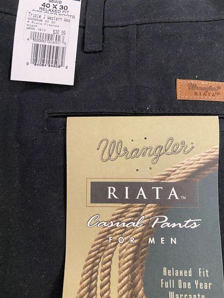 Men's Riata Pleated Black Dress Pants
