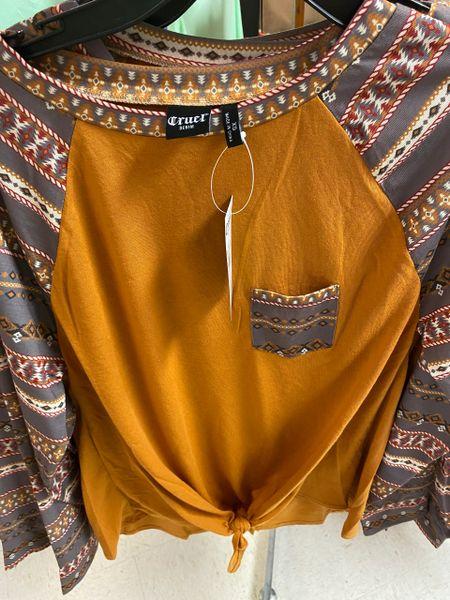 Women's L/S Raglan Tie Shirt