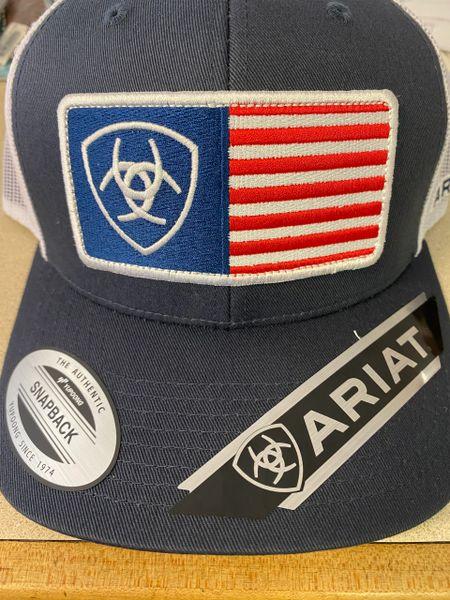 Men's Ariat Navy Cap W/ American Flag Patch