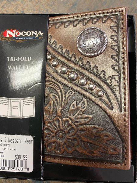 TRIFOLD EMB DESIGN ROUND CONCHO BROWN
