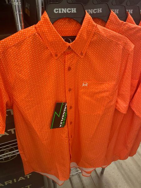 Men's S/S Orange Print Shirt