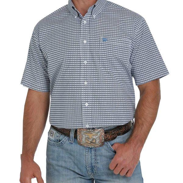 Men's short sleeve blue plaid shirt by Cinch