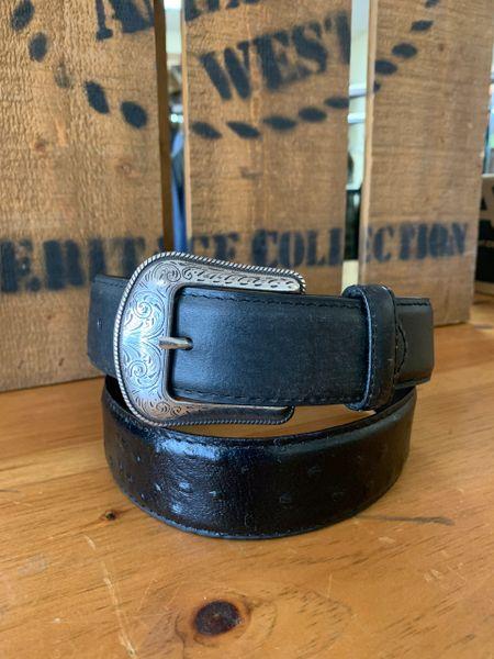 Mens Black Ostrich Leather Belt