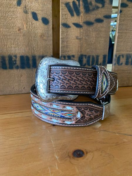 Mens Nocona Scalloped With Fabric Inlay Brown Belt