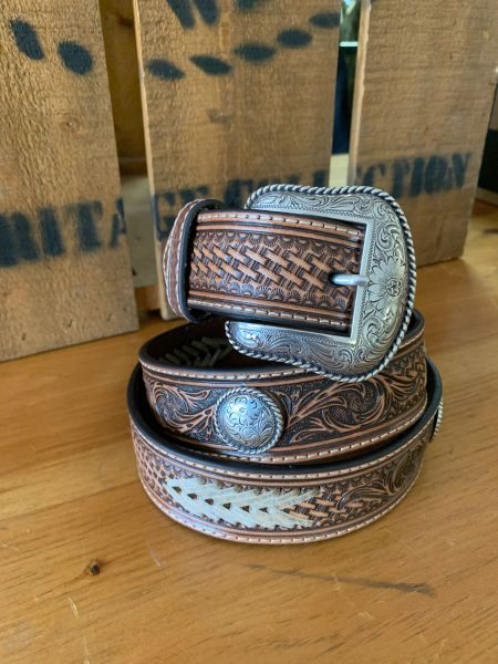 Mens Nocona Belt With Round Conch and Raw Hide Lacing