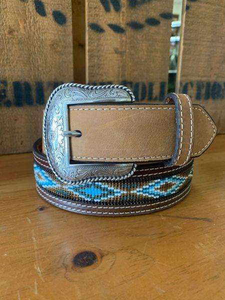 Mens Beaded Leather Belt
