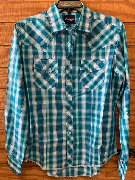 Men's Wrangler L/S Turquoise Plaid Pearl Snap shirt